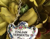 Antique Italian Vermouth Decanter Tag Crown Staffordshire England T. Goode London - #F1146