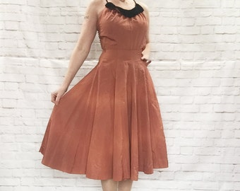 Vintage 40s Copper Velvet Collar Flared Skirt Swing Dress XS Costume Clearance