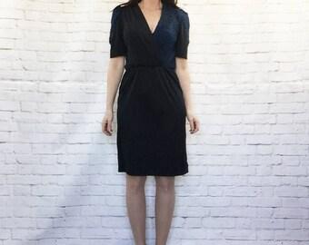 Vintage 70s Blue Black Metallic Puff Sleeve Surplice Wrap Disco Dress S
