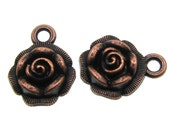 Copper Charms : 10 Antique Copper Flower Charms , Copper Floral Rose Pendants -- Lead & Nickel Free 2710.R