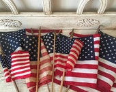 Vintage American Flags - Lot of 8 Parade or Classroom Flags - Mixed Sizes, Some Tattered