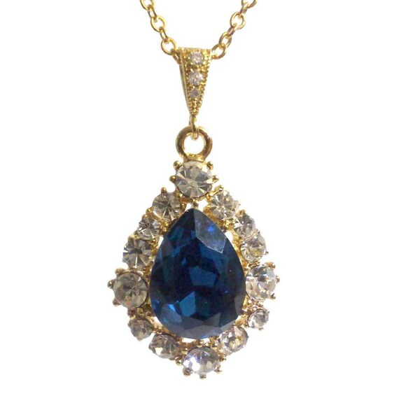 navy blue bridal necklace something blue bridesmaid necklace