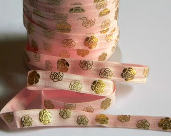 "Valentine's Day FOE 5 yards of 5/8"" Fold Over Elastic Pink with Gold Foil Rose Flower Print for Headband Connector Party Favor Ties Wrapping"