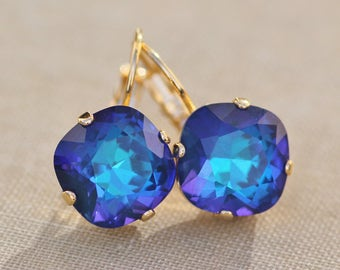 NEW COLOR Unique Ultra Marine Blue Swarovski Cushion Leverback,Gold Lever Back Rhinestone Earring,Swarovski Crystal,Blue Rainbow,Large 12mm