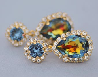 NEW Denim Navy Blue Jewel Rainbow Earrings,Swarovski Rhinestone Halo Stud,Drop Earrings,Gold Halo Dangle,Unique Color,Gift For Her,Rainbow