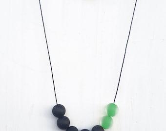 Green statement necklace. Grass green, black necklace. Glass matte beads necklace. Modern necklace