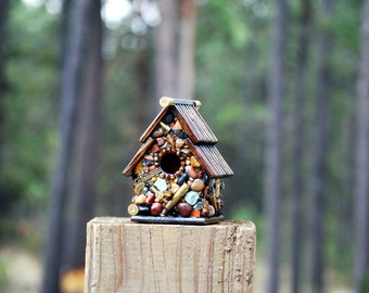 birdhouse for him Recycled Bullet Shell Birdhouse for Hunters from Oregon mosaic birdhouse man cave decor guns firearms outdoor decor