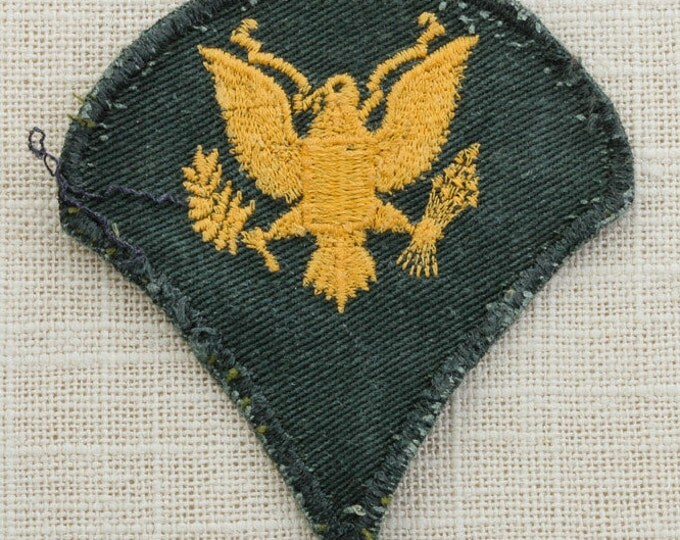 US Army Vintage Patch Military Vietnam Era Specialist 3rd Class E4 Gold on Green Uniform Sew on 6Z