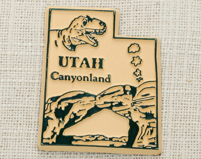 Utah Silhouette Vintage State Magnet Travel Tourism Zion Bryce Canyon National Park Salt Lake City Vacation Memento America Dinosaur 5S