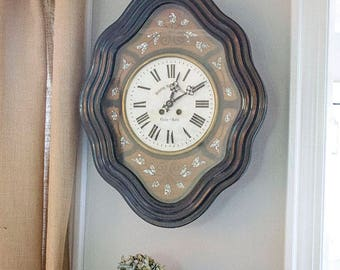 Antique French Baker's Clock, Mother of Pearl Inlay, Ebony Wood, Circa 1870