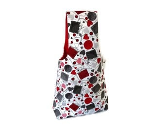 Medium Flannel Red & Gray Yarn and Knitting Needles Yarn Bag Project Tote S312