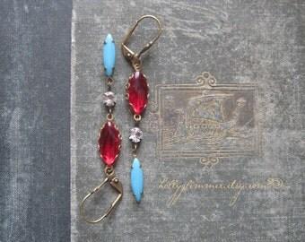 Red Jewel Earrings / Vintage Rhinestone Assemblage Jewelry