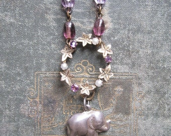 Elephant Charm Necklace / Vintage Assemblage Jewelry / Good Luck Charm / Delicate Boho Jewelry / OOAK
