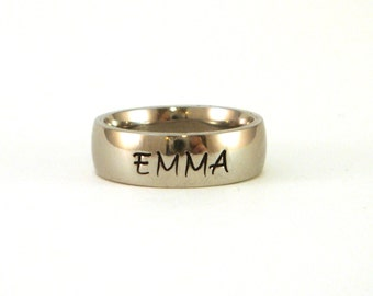 Name Ring / Personalized Name Ring / Personalized Ring / Hand Stamped Ring / Stainless Steel Ring 6mm