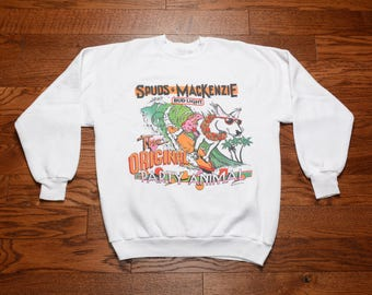 vintage 80s sweatshirt The Original Party Animal Spuds Mackenzie Bud Light Budweiser 1980 jumper 1986 L large
