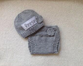 Newborn photo prop, grey newborn set, personalized newborn hat, newborn girl, monogram baby hat, baby props, name beanie, newborn props