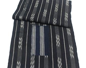 Japanese Vintage Kasuri Ikat. Woven Indigo Cotton Scrap. Traditional Folk Fabric. (Ref: 1772)