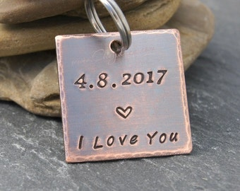 Anniversary Gift with Date, Personalized Mens Keychain, Anniversary Gift for Boyfriend, Anniversary Gift for Husband, I LOVE You Keychain