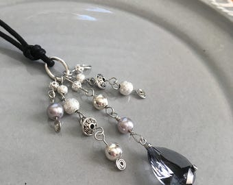 Grey Crystal Book Thong Beaded Bookmark Holiday Sparkle Reading Book Club