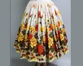 Vintage 1950s Skirt  |  Floral |  Mad Man | Rockabilly | Garden Party | Roses | 50s Skirt