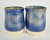 Handmade Stoneware Mug - Stoneware Tumbler Mug - Ceramic Tumbler - Cobalt Blue Ceramic Tumbler - Blue Tumbler - Handleless Mug -  Set of two