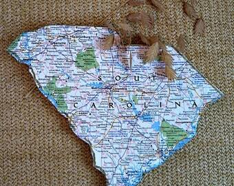 SOUTH CAROLINA State Vintage National Geographic Mini Map