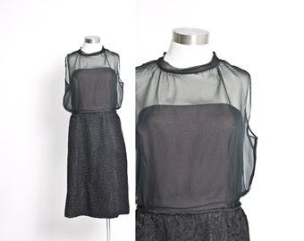 Vintage 1960s Dress - Black Brocade Chiffon Illusion Cocktail Jacket Set 60s - Large