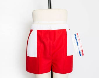 Vintage 1970s Shorts - Deadstock Red & White Color Block High Waisted Hot Pants NOS - Large