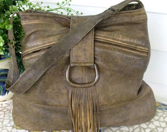 Brown Leather Handbag Tote - Recycled / Upcycled - Distressed Leather - Handmade - Created from a Bomber Jacket