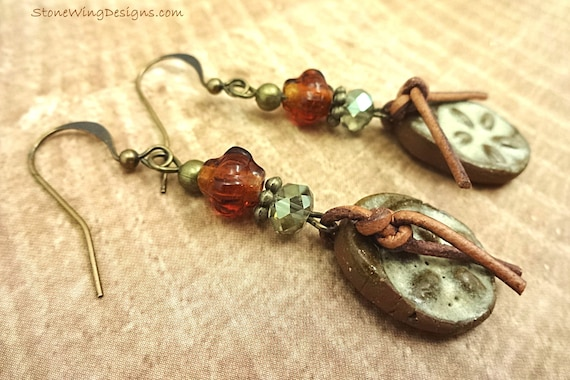 Rustic Boho Artisan Earrings with Ceramic Drops, Leather and Glass