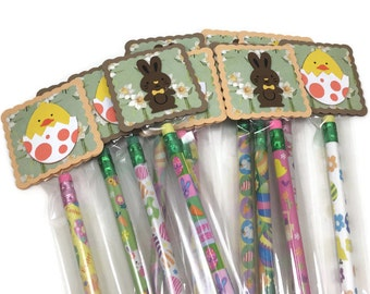 Easter pencil favors, classroom exchange, set of 12 pencil favors, candy alternative, easter favors, favor bag stuffers, chick and bunny