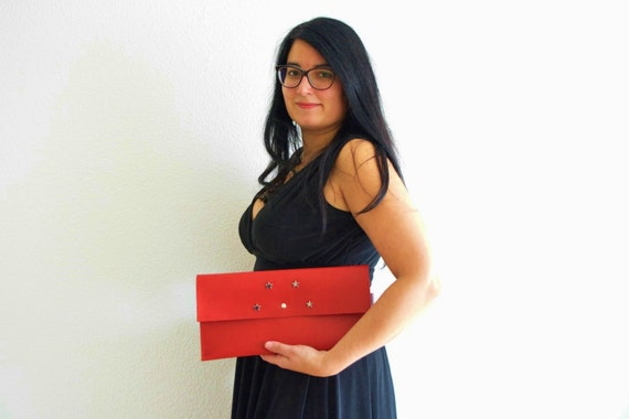 Red clutch,leather handbag,stars clutch,stars handbag,red leather clutch,leather clutches,leather handbags,red party bag,rivets clutch