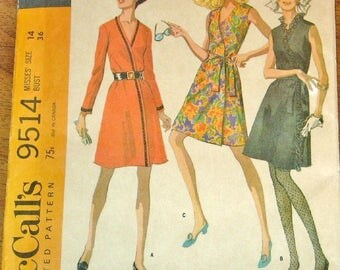 Vintage 1960s Sewing Pattern McCalls 9514, Mod Wrap Coat Dress, Sleeveless Long Sleeves, Womens Misses Size 10 Bust 32 Uncut Factory Folds