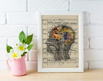 Flowery Brain over music sheet Love gift aniversary gift, Music student gift, Girlfriend gift,music sheet art  SKA053MSL