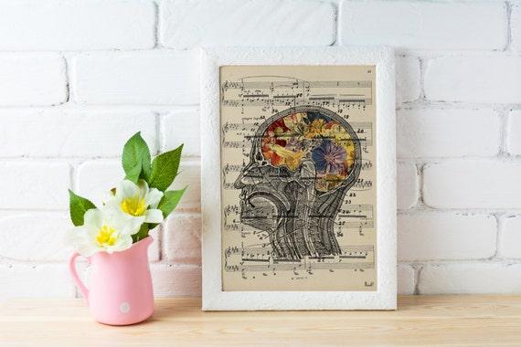 Summer Sale Flowery Brain over music sheet Love gift aniversary gift, Music student gift, Girlfriend gift,music sheet art  SKA053MSL