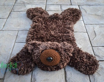 Crochet Pattern for Faux Bear Skin Nursery Rug or Photo Prop DIY Tutorial - Welcome to sell finished items