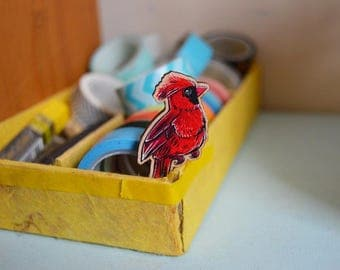 Cardinal Bird Wooden Brooch