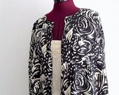 Printed Black and white Silk Blouse/Tunic