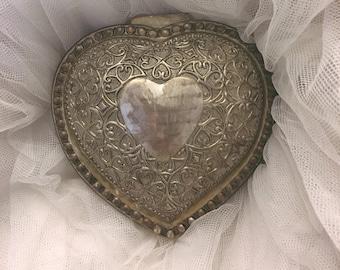 vintage Large silverplate heart jewelry box, silver heart box, Silver heart jewelry box