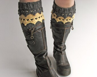 Hand Knitted Openwork Boho Boot Cuffs - Boot Toppers, Leg Warmers - 100% Natural Wool - Winter Cozy Gift