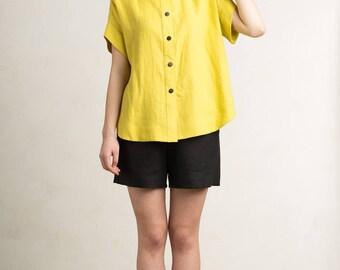 Women's shirt, Linen top for women, Mustard yellow linen shirt, Short sleeve shirt with buttons, Loose fit women's clothing by LHI