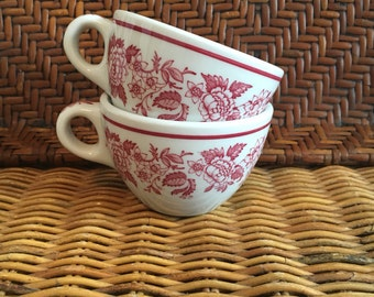 Vintage Jackson China Jessica Pattern Pink and White Ironstone Coffee/Tea Cups