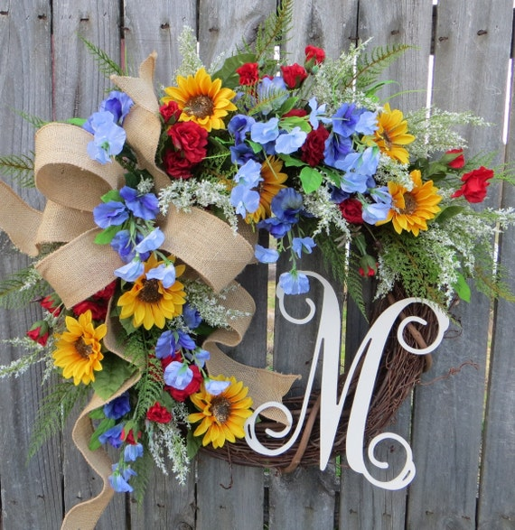 Front Door Wreaths, Spring Wreath, Summer Wreath, Sunflower Wreath, Wreath for Door, Sweet Pea Wreath, Red Rose Wreath, Mother's Day Gift