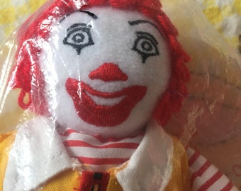 1996 Ronald McDonald Bean Bag Doll With Red Yarn Hair And In The Original Package ~ Authentic Vintage Ronald McDonald Toy