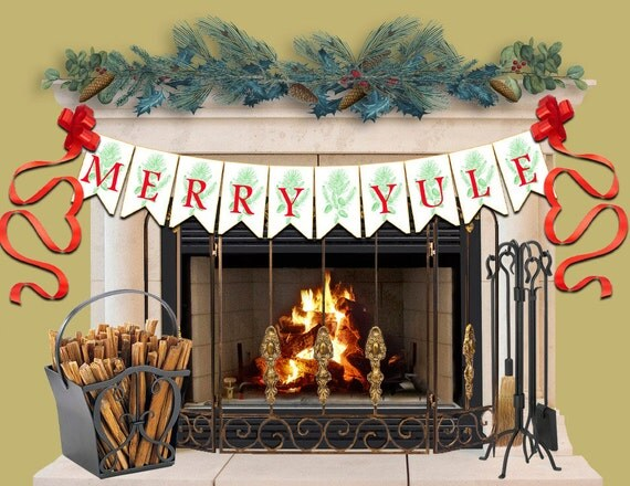 Merry Yule Banner, Printable Paper Banner