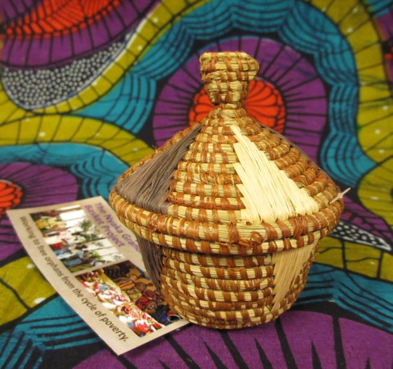 Small African Basket Basket With Lid Woven Basket Natural