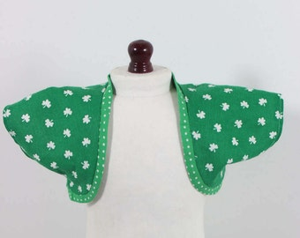 "18"" Doll American girl size ""Cheap Chic Coordinates""-St. Patrick's Day Lucky Green Shamrock Shrug/Vest-Versitile & Fun!"