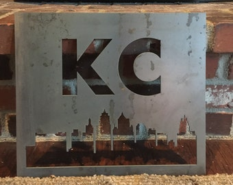 Skyline with City Initials Metal Sign - Choose your City