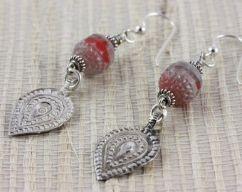 Bohemian Glass Drop Earrings with Berber Silver Decorated Teardrops - Rita Okrent Collection (E300)