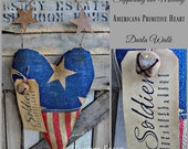 4th of July | Americana Heart | Primitive American Flag Heart | Summer Decor |  Americana Wall Art | Rustic Flag | Red White Blue